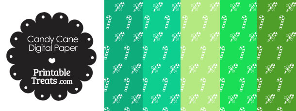Candy Cane Scrapbook Paper with Green Background