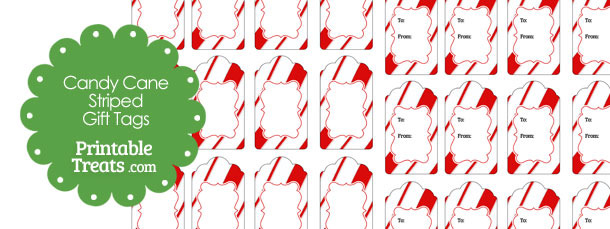 Candy Cane Stripes Christmas Gift Tags