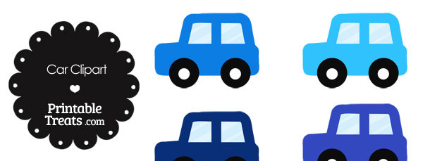 Car Clipart in Shades of Blue