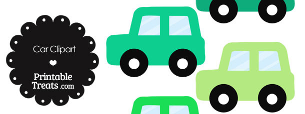 Car Clipart in Shades of Green