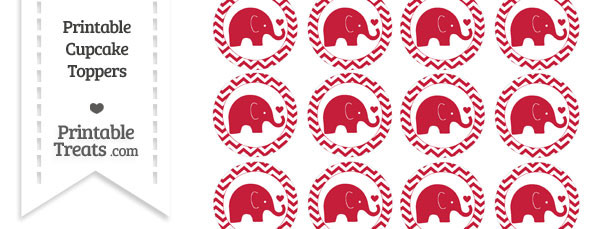 Cardinal Red Baby Elephant Chevron Cupcake Toppers