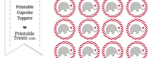 Cardinal Red Chevron Baby Elephant Cupcake Toppers