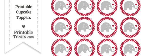 Cardinal Red Polka Dot Baby Elephant Cupcake Toppers