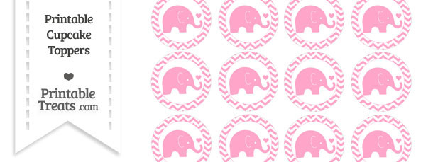 Carnation Pink Baby Elephant Chevron Cupcake Toppers
