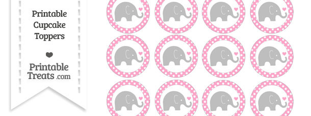 Carnation Pink Polka Dot Baby Elephant Cupcake Toppers