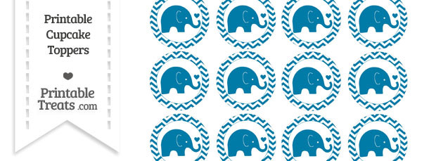 Cerulean Blue Baby Elephant Chevron Cupcake Toppers