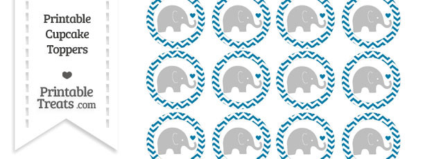 Cerulean Blue Chevron Baby Elephant Cupcake Toppers