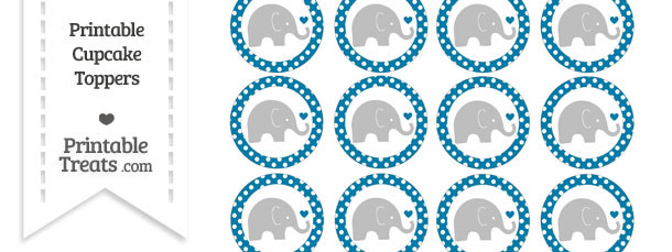 Cerulean Blue Polka Dot Baby Elephant Cupcake Toppers
