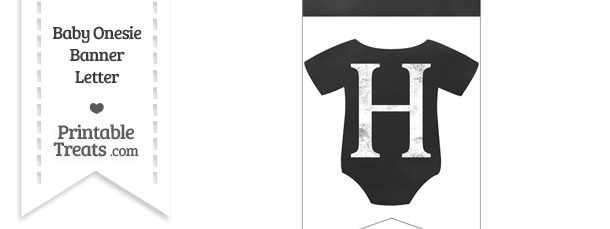 Chalkboard Baby Onesie Shaped Banner Letter H