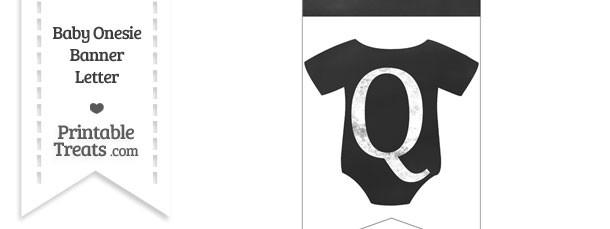 Chalkboard Baby Onesie Shaped Banner Letter Q