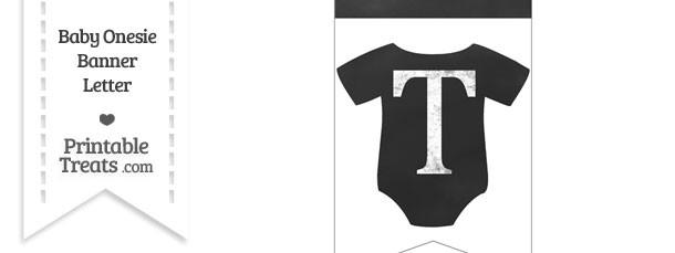 Chalkboard Baby Onesie Shaped Banner Letter T