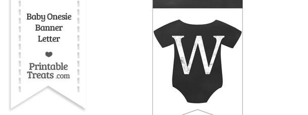 Chalkboard Baby Onesie Shaped Banner Letter W