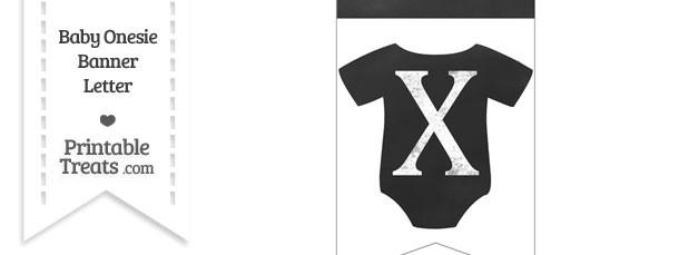 Chalkboard Baby Onesie Shaped Banner Letter X