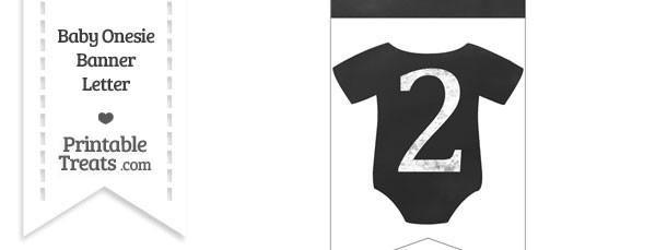 Chalkboard Baby Onesie Shaped Banner Number 2