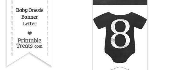 Chalkboard Baby Onesie Shaped Banner Number 8