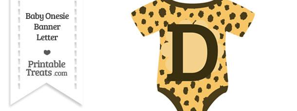 Cheetah Print Baby Onesie Shaped Banner Letter D