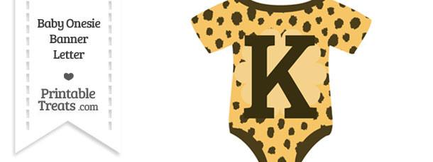 Cheetah Print Baby Onesie Shaped Banner Letter K