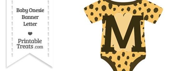 Cheetah Print Baby Onesie Shaped Banner Letter M