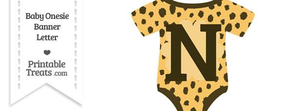 Cheetah Print Baby Onesie Shaped Banner Letter N