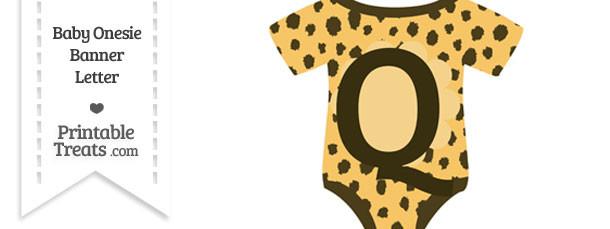 Cheetah Print Baby Onesie Shaped Banner Letter Q