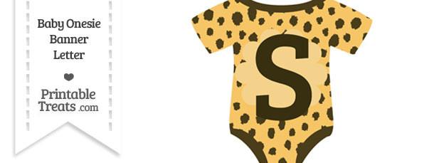 Cheetah Print Baby Onesie Shaped Banner Letter S