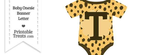 Cheetah Print Baby Onesie Shaped Banner Letter T