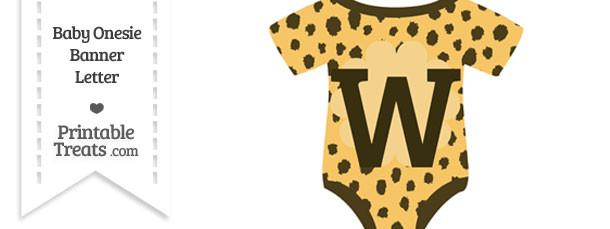 Cheetah Print Baby Onesie Shaped Banner Letter W