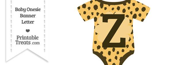 Cheetah Print Baby Onesie Shaped Banner Letter Z