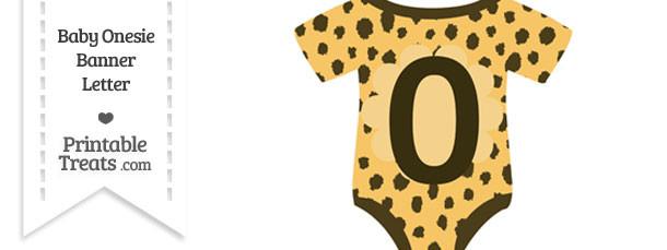 Cheetah Print Baby Onesie Shaped Banner Number 0