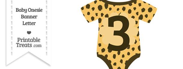 Cheetah Print Baby Onesie Shaped Banner Number 3