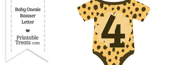Cheetah Print Baby Onesie Shaped Banner Number 4