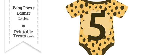 Cheetah Print Baby Onesie Shaped Banner Number 5
