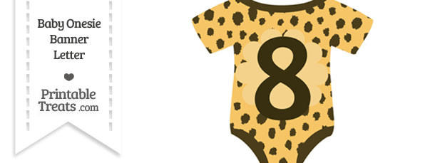 Cheetah Print Baby Onesie Shaped Banner Number 8