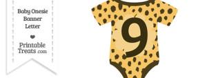 Cheetah Print Baby Onesie Shaped Banner Number 9