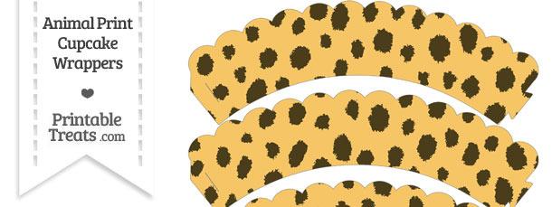 Cheetah Print Scalloped Cupcake Wrappers