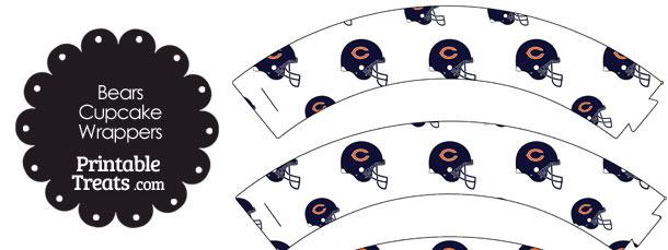 Chicago Bears Football Helmet Cupcake Wrappers