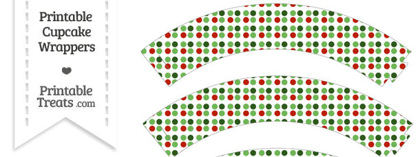 Christmas Dots Cupcake Wrappers