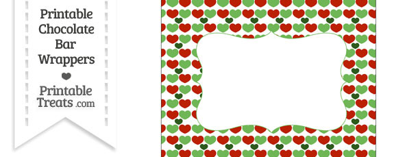 Christmas Hearts Chocolate Bar Wrappers