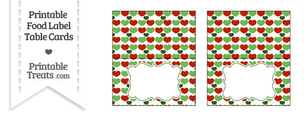 Christmas Hearts Food Labels