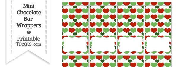 Christmas Hearts Mini Chocolate Bar Wrappers