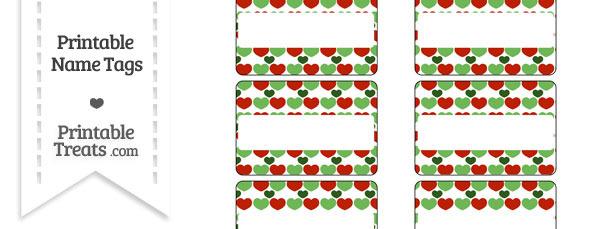 Christmas Hearts Name Tags