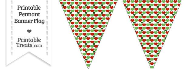 Christmas Hearts Pennant Banner Flag