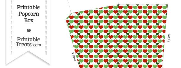 Christmas Hearts Popcorn Box