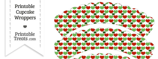 Christmas Hearts Scalloped Cupcake Wrappers