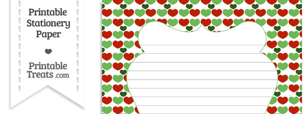 Christmas Hearts Stationery Paper