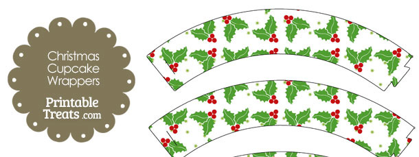 Christmas Holly Cupcake Wrappers