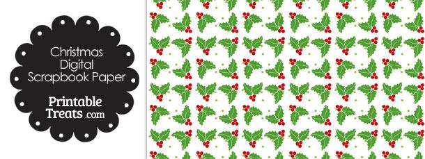 Christmas Holly Digital Digital Scrapbook Paper