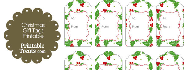 Christmas Holly Gift Tags