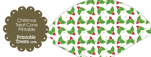 Christmas Holly Printable Treat Cone