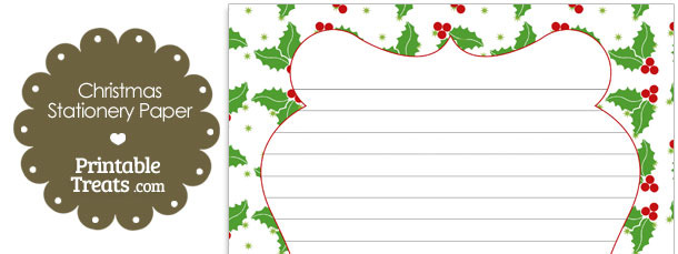 Christmas Holly Stationery Paper